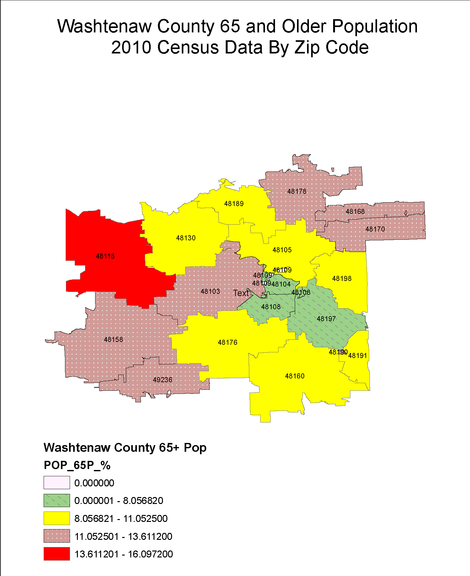 Washtenaw County 65 and Older Population by Zip Code
