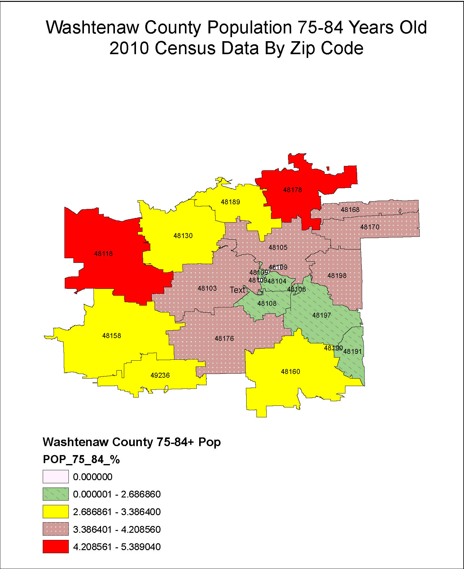 Washtenaw County Population 75-84 Years Old by Zip Code