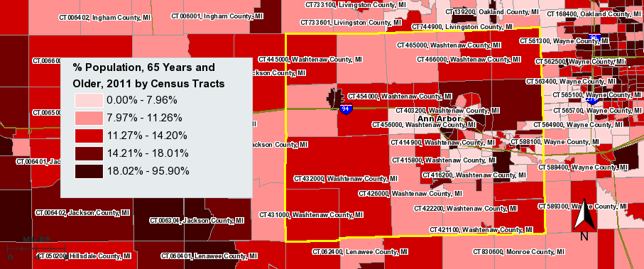 % Population, 65 Years and Older by Census Tracts